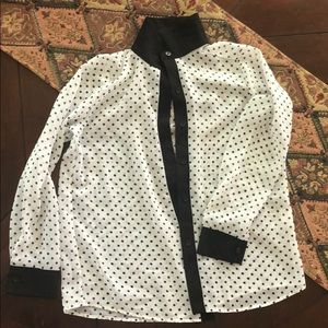 Other - White button down shirt with black dots